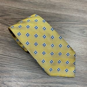 Jos A Bank Gold w/ Blue & Navy Check Tie